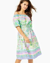 NWT LILLY PULITZER Women#x27;s #x27;CAMILLE#x27; Multi ISLAND HOPPING ENGINEERED DRESS L $134.95