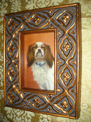 MAD DOG 4 X 6 stand up carved gold frame animal picture Victorian style print $21.99