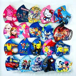 Kids Face Mask HERO PRINCESS Polyester 3 Fly Washable AGES FROM 👶🏻2 TO 10👧 $4.99