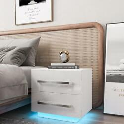 Modern High Gloss Nightstand w LED RGB Light 2 Drawers Bedside End Table Bedroom $95.99