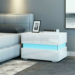 Modern High Gloss Nightstand Set of 2 1 Bedside Table 2 Drawers w RGB LED Light $189.99