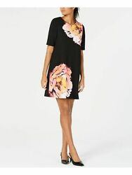Alfani Dress Pink Floral Boat Neck Shift Cocktail Women Black Sz 14 NEW NWT 388 $22.95