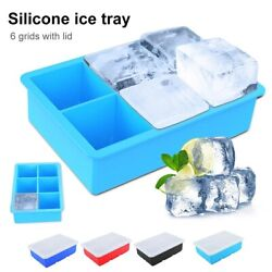 Big Ice Cubed Maker Large Cube Square Tray Molds Whiskey Ball Cocktails Silicone $9.95