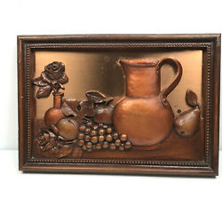 Copper Kitchen Wall Art Pitcher Fruit Still Life Wire Hanging Rose Grape $42.46