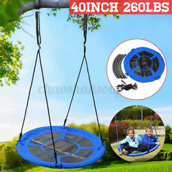 40inch Tree Swing Round Rotate Seat Outdoor Yard Hanging Rope Tire Flying Saucer $56.89