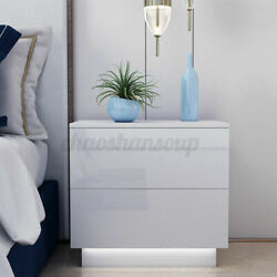 High Gloss Modern Nightstand 2 Drawers w RGB LED Light Bedside End Table Bedroom $80.74