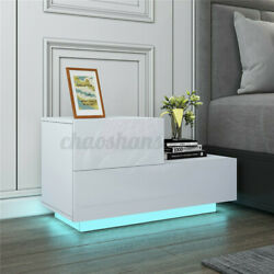 2 Drawer High Gloss Nightstand LED RGB Lighting Modern Bedside End Table Bedroom $85.99