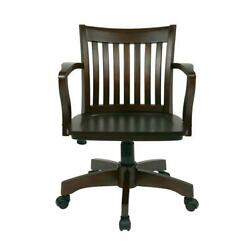 OSP Home Furnishings Deluxe Wood Bankers Desk Chair with Wood Seat Espresso $89.99