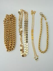 VTG lot of 3 gold tone curb coin hammered balls necklaces and Jones NY chain $29.00