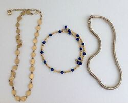 Vintage lot of 3 gold tone round herringbone coins specialty chains necklaces $29.00