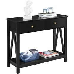 Entry Sofa Console Table w Drawer and Open Shelf for Entryway Living Room Black $95.99