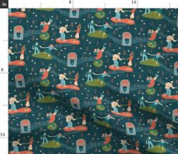Rockabilly Lindy Hop Swing Swing Dancing Dance Spoonflower Fabric by the Yard $38.00