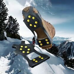 10 Studs Non slip Snow Cleats Shoes Boots Cover Step Ice Spikes Grips Crampons $7.41