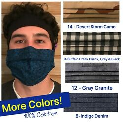 FACE MASK FOR MEN HANDMADE COTTON with NOSE WIRE USA MADE $9.95