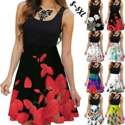 New Women Sun dresses Summer Sleeveless Floral Dress Size S 5XL Beach Fashion $10.99