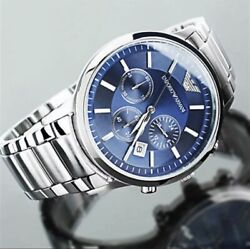 NEW GENUINE EMPORIO ARMANI MENS AR2448 WATCH BLUE DIAL STAINLESS STEEL UK GBP 69.99