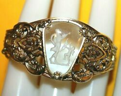 STUNNING WHITING AND DAVIS SIGNED CUFF BRACELET WITH SUCH AN AMAZING PIC STONE $59.99