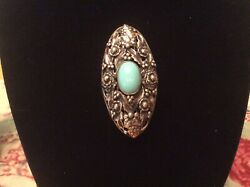Gorgeous Art Nouveau Carved Sterling Pin With Turquoise Art Glass $49.99