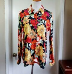 NWT Zara Tropical Flower Blouse Button Front Long Sleeve Slinky Small $10.00