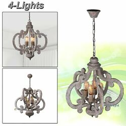 Pendant Light Chandelier Rustic Wood Ceiling Candle Fixture Kitchen Dining Room $155.99