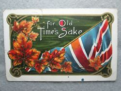 Antique For Old Time#x27;s Sake British Union Jack Flag Postcard 1913 $2.85