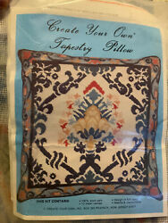 VTG Create Your Own NEEDLEPOINT Tapestry PILLOW 14quot; KIT Canvas amp; 100% Wool Yarn $60.00