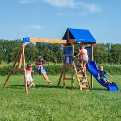 Cedar Wood Swing Set Kids Slide Backyard Playground Rockwall Climb Ladder Combo $474.08