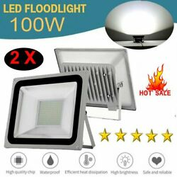 2x 100W 110V LED Commercial Flood Light Outdoor Security Floodlight Garden Lamp