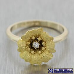 1880s Antique 14k Yellow Gold .04ct Diamond Flower Cocktail Ring US 7.5 N8 $299.99