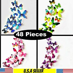 48 pieces 3D Wall Butterfly Art Design Mural Stickers Wall Home Room Decoration $8.97