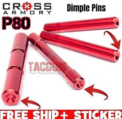 Cross Armory RED E Coat Dimple Pins for P80 Poly80 4 PIN SET Stainless Steel $19.95
