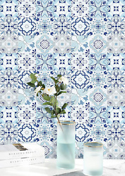 Contact Paper Blue White Wallpaper Flower Tile Peel and Stick Self Adhesive Back $12.99