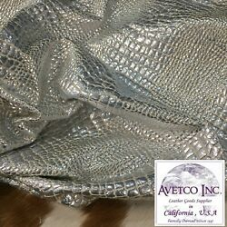 Avetco Top Grade Silver Crocco Embossed Novelty Cow Leather 3oz Choose your hide $63.99