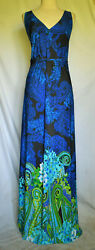 ELEMENTZ WOMAN Strapless Blue Multi Color Maxi Dress Size 1X $15.67