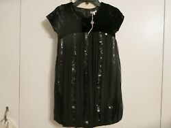 Miss Grant designer girls black sequins elegant party dress NWOT size 36 9Y
