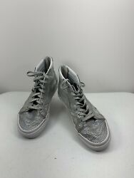 Vans Off The Wall Girls Silver Glitter Hightop Tennis Shoes Sneakers Size 3 Y $21.00