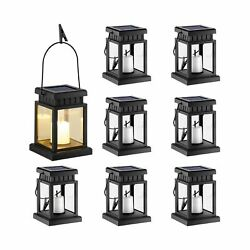 GIGALUMI 8 Pack Solar Hanging Lantern Outdoor Candle Effect Light with Stake... $68.87