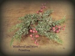 Primitive Country 10quot; Icy Cedar amp; Red Berry Christmas Candle Ring with 2quot; Center $6.50