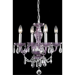 CRYSTAL CHANDELIER PURPLE BEDROOM FOYER HALLWAY DINING LIVING ROOM 4 LIGHT 18quot; $192.00