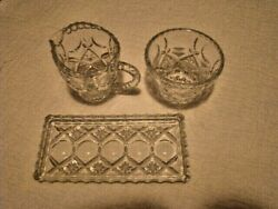 Vintage Crystal Creamer and Sugar With Tray Set Star Pattern Scalloped Edge Mint $25.55