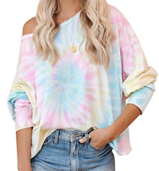 Women Off Shoulder Tie Dye Pullover Blouse Casual Long Sleeve T shirt Baggy Tops $12.99