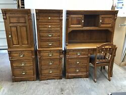 Vintage Desk amp; 2 Highboys Oak Dixie Lexington Recollections Home School USA $799.99