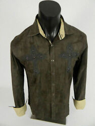 Mens Western Style Shirt Brown Embroidered Crosses Studs Stretch Button Front $18.95