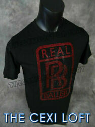 Mens Extended Scoop Bottom T Shirt REAL BALLERS Red Black COLORED STONES Hip Hop $19.95