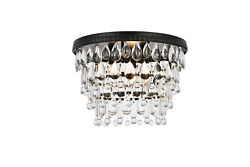 FLUSH MOUNT CHANDELIER BLACK CLEAR GLASS CRYSTAL BEDROOM LIVING ROOM 3 LIGHT 15quot; $304.00