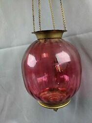 Vintage to Antique Hanging Cranberry Ribbed Brass Hall Library Oil Lamp Fixture $125.00