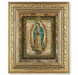 Our Lady of Guadalupe Framed Wall Picture Gold Leaf Antiqued Frame 12.5quot; x14.5quot; $37.99