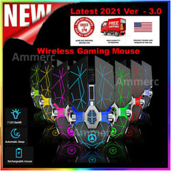 Wireless mouse Gaming 7 Color LED Gaming Mouse Usb Backlit Rechargeable For PC $12.89