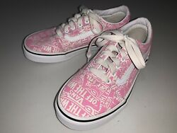 VANS Off the Wall Girls Shoes Pink amp; Natural White Canvas Size 1 Youth $20.00
