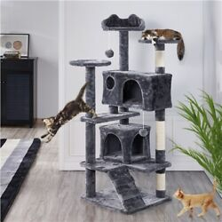Cat Tree Tower Condo with Scratching Post for Kittens Pet House Furniture 54in $57.99